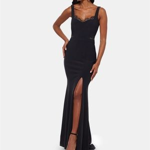 XSCAPE NEW Lace Inset Detail Cut Out High Slit Gow